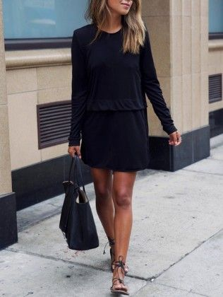 Black Round Neck Long Sleeve Loose Dress - She In
