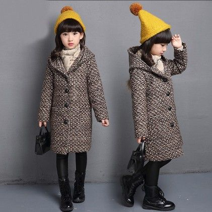 Woolen Winter Jackets For Girls Hooded Pockets W Long Sleeve Jacket - Aww Hunnie!! - 223526