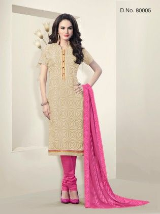 Beige Chanderi Silk Dress Material - Touch Trends Ethnic