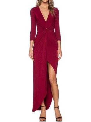 Wine Red V Neck Slim Asymmetrical Dress - She In