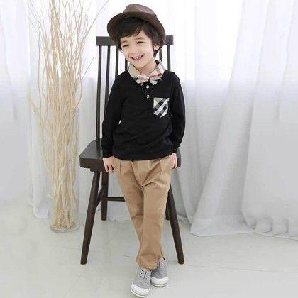 Black T-shirt And Khaki Pant Set - Lil Mantra