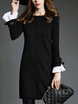 Black Boat Neck Bell Sleeve Shift Dress - She In