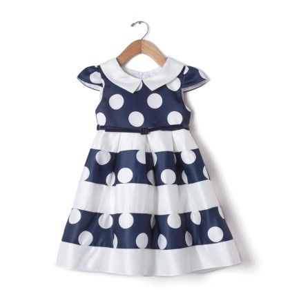 Navy Blue Polka Dot Dress - Party Princess