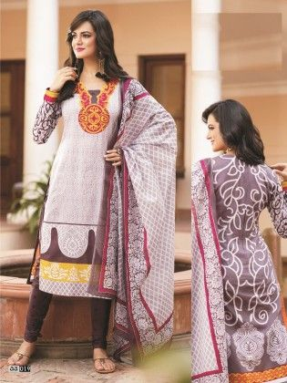 Cotton Printed Brown Dress Material - Fashion Fiesta