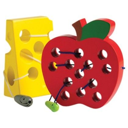 Threading Cheese And Lacing Apple Set - Constructive Playthings