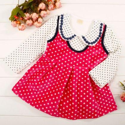 Pink Polka Dot Dress With Peter Pan Collar - Maisie