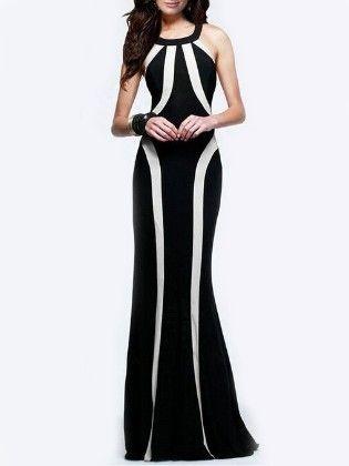 Black White Monochrome Slim Perfect Maxi Dress - She In