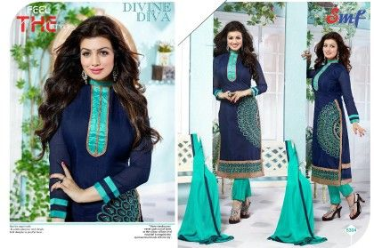 Green And Blue Embroid Salwar Suit With Dupatta - SMF