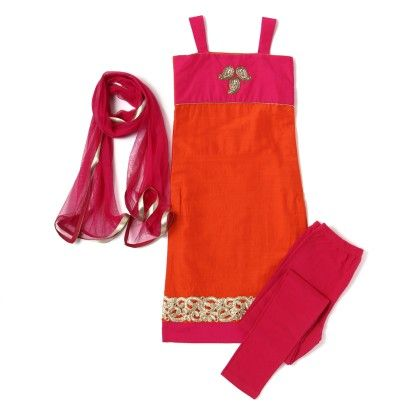 Straight Cut Suit Orange, Pink - Sanya Dresses