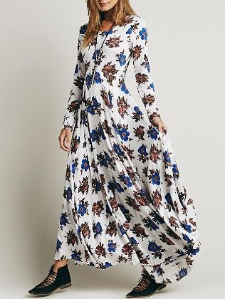 Long Sleeve Flower Print Maxi White Dress - She In