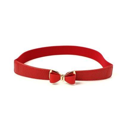 Bow Buckle Elastic Belt Red - Ribbon