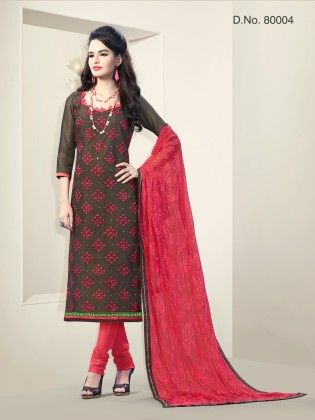 Brown Chanderi Silk Dress Material - Touch Trends Ethnic