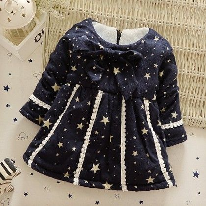Star Print Dress With Bow & Lace Work - Dark Blue - Mellow