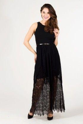 Lace Hemmed Maxi Evening Dress Black - Depare