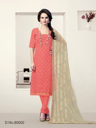 Peach Chanderi Silk Dress Material - Touch Trends Ethnic