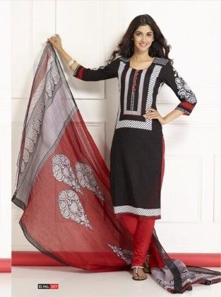 Cotton Printed Black And Red Dress Material - Fashion Fiesta