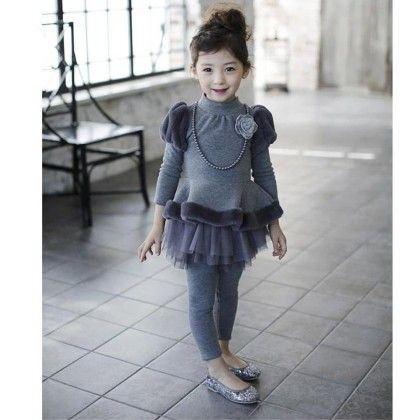 Winter Peplum Top Gray - Mauve Collection