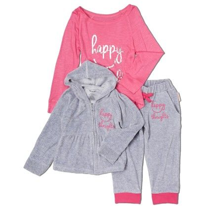 Happy Thoughts Velour Hooded Sweatshirt Set - Silly Souls