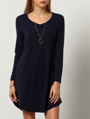 Round Neck Long Sleeve Loose Dress - She In