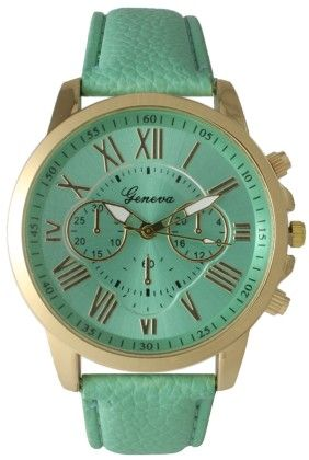 Leather Band Watch With Roman Numbers-lime - Vernier Watches