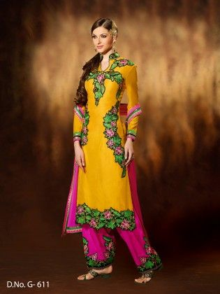Chanderi Silk Dress Material -yellow - Touch Trends Ethnic