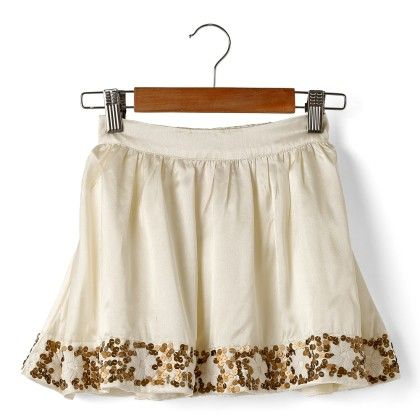 Spakling White Satin Sequence Party Skirt - Cuddle