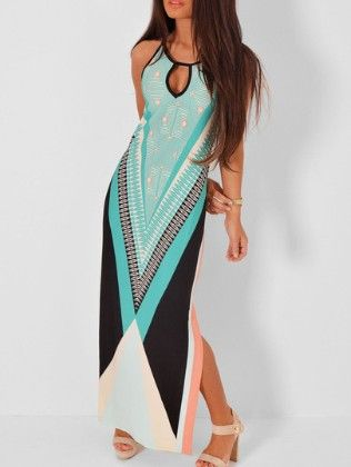 Keyhole Graphic Print Slit Maxi Green Dress - She In