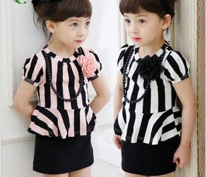 Black And White  Stripped Peplum Top - Dell's World