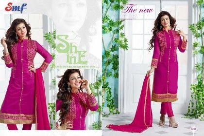 Majenta Embroid Salwar Suit With Dupatta - SMF