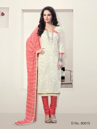 Off White Chanderi Silk Dress Material - Touch Trends Ethnic