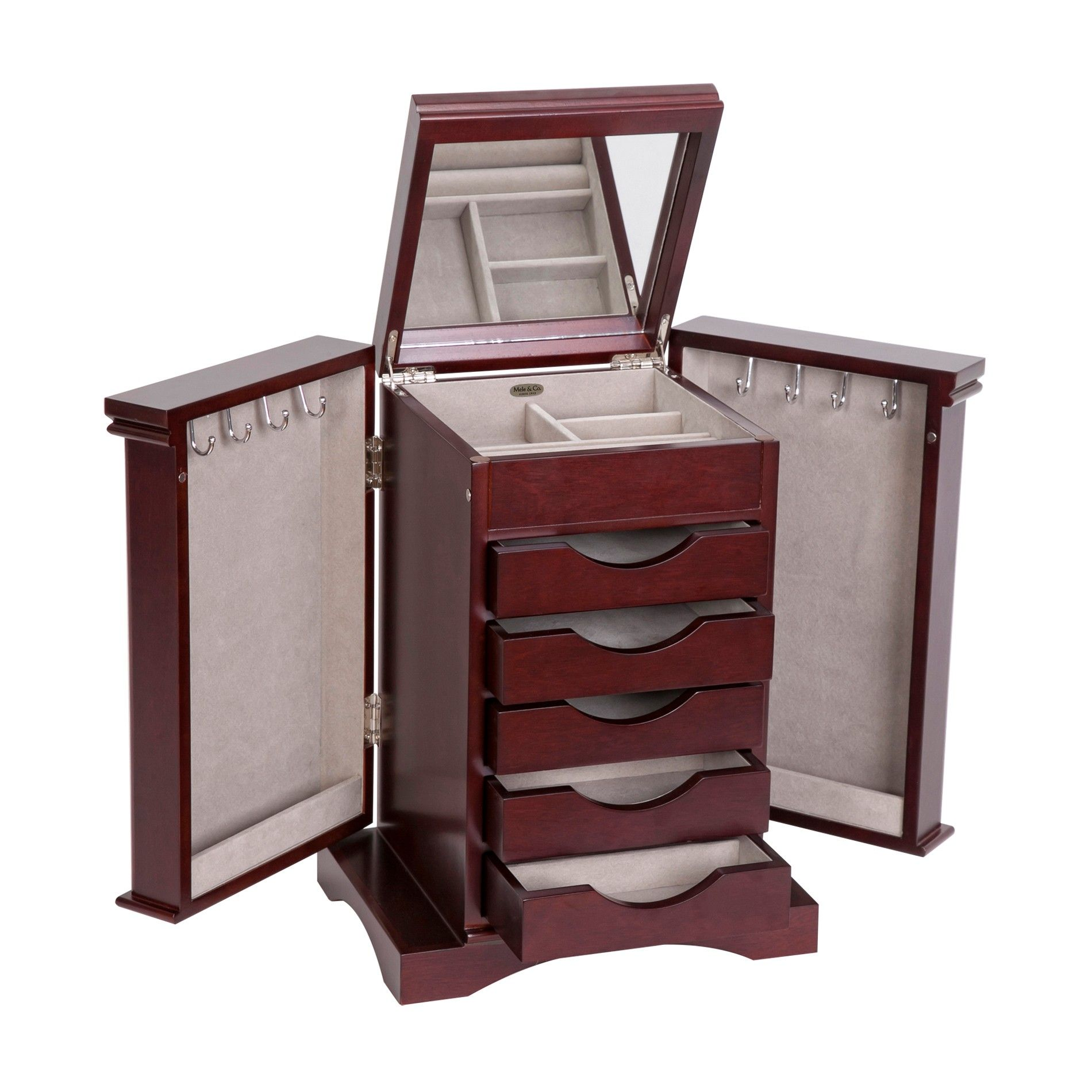bathroom cabinet with drawers arden wooden jewelry box in mahogany finish mele amp co 15598