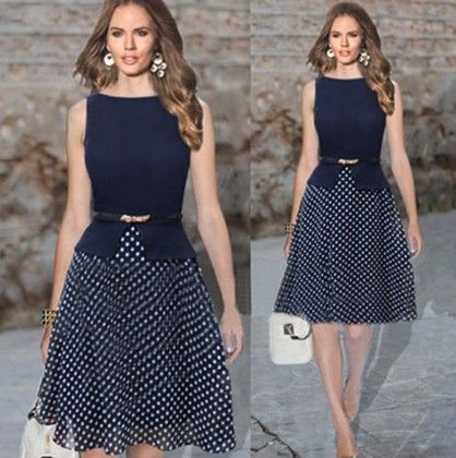 Polka Dot Printed Dress With Belt Navy - Oomph