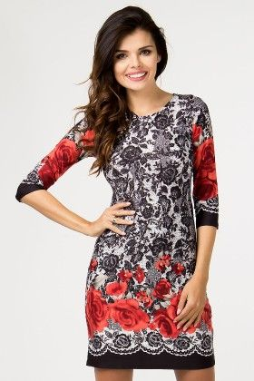 Black And Red Roses Day Dress White - Depare