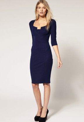 Blue Square Neck Vintage Slim Bodycon Dress - She In