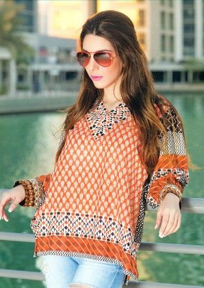 Embroidered Kurti Collection Orange - Mauve Collection - 226786