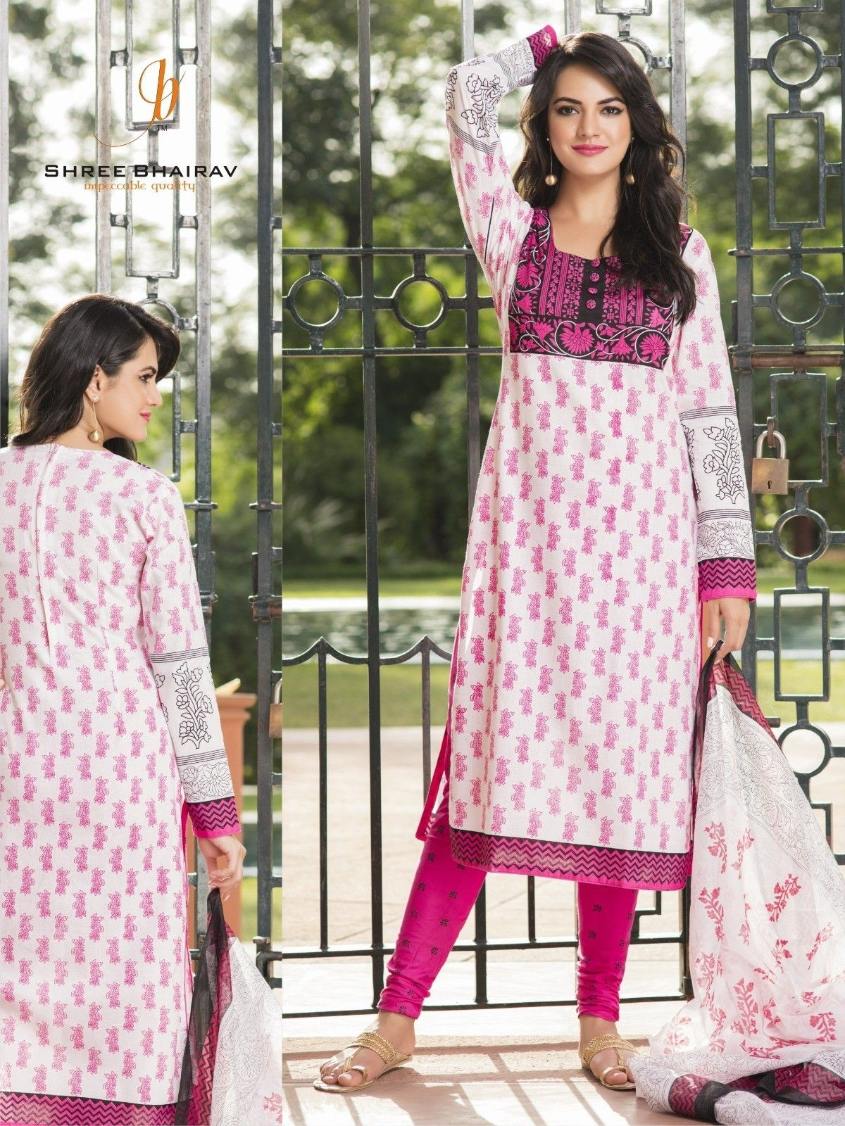 Pink And Off White Dress Material - Fashion Fiesta