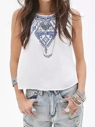 White Round Neck Embroidered Buttons Tank Top - She In