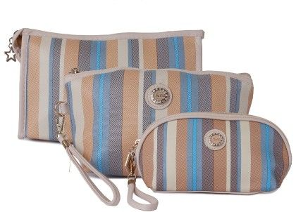 Set Of 3 Earthy Stripes Multipurpose Pouch Or Purse For Women - Uberlyfe