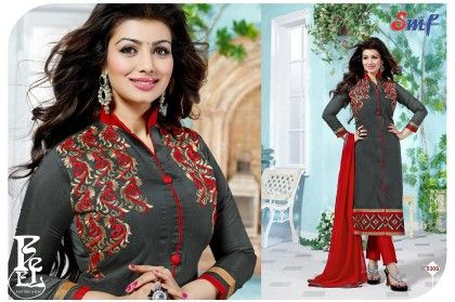 Grey Red Embroid Salwar Suit With Dupatta - SMF