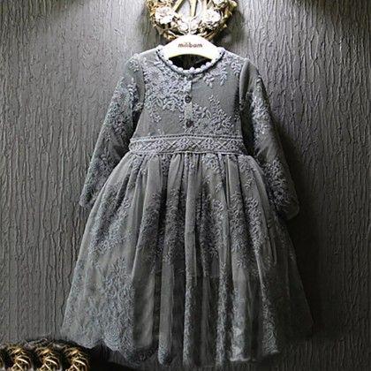 New Winter Girls Embroidery Lace Waist Super Fairy Princess Girls Dress - Kidsloft