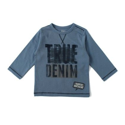 Long Sleeve T-shirt With Print - Blue - Babeez