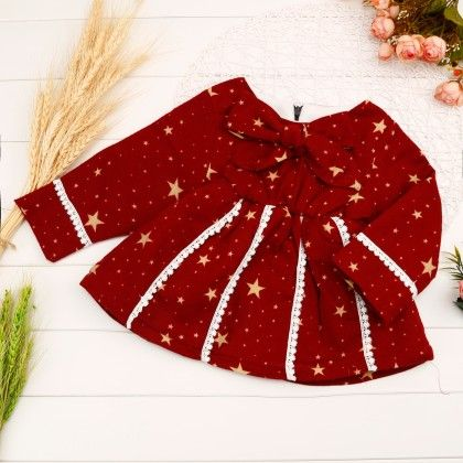 Star Print Dress With Bow & Lace Work - Red - Mellow