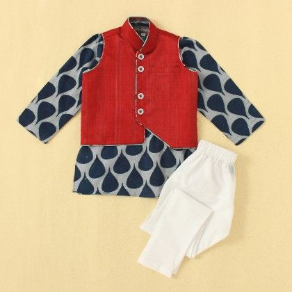 Indigo Block Print Kurta N Chudidar With Raw Silk Bandi Red & Blue - LiL Poppets