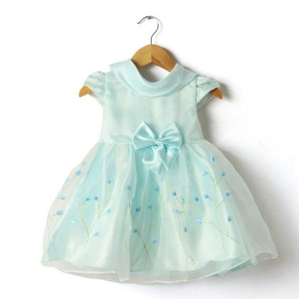 Embroidered Blue Dress With Bow - Little Coogie