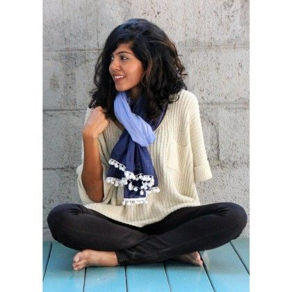Navy Ombre And Pom Pom Scarf - Pigtails And Ponys
