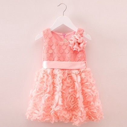 Cute Lace And Ribbon Dress Peach - Mauve Collection