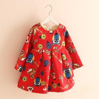 Printed Fleece Dress - Mauve Collection