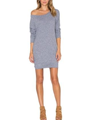 Boat Neck Jumpers Long Sleeve Bodycon Dress Gray - She In