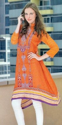 Embroidered Kurti Collection Orange - Mauve Collection - 226785