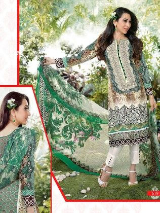 All Over Printed White And Green Dress Material - Fashion Fiesta